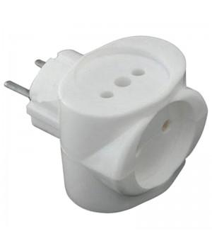Разветвитель 3гнезд универсальный РВ-041 белый в упаковке